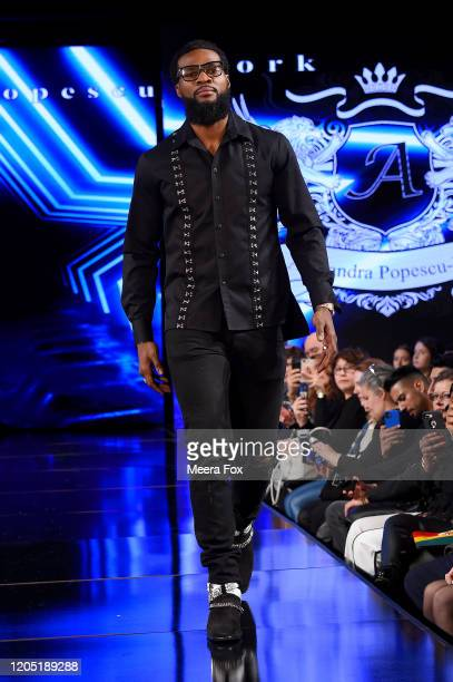 Marcus Browne walks the runway during Alexandra PopescuYork At New York Fashion Week Powered By Art Hearts Fashion NYFW 2020 at The Angel Orensanz...