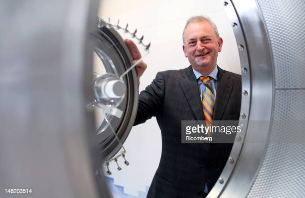 Marcus Bryson chief executive officer of GKN Plc's aerospace unit poses for a photograph inside the company's chalet during the Farnborough...