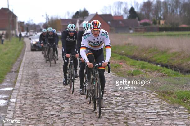 Marcus Burghardt of Germany and Team Bora Hansgrohe during training of 116th Paris to Roubaix 2018 on April 5 2018 in Arenberg France