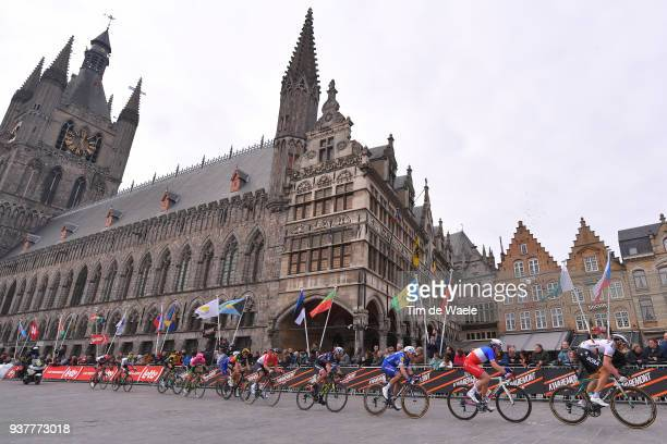 Marcus Burghardt of Germany and Team Bora Hansgrohe / Elia Viviani of Italy and Team QuickStep Floors / Ieper Town Hall / Landscape / during the 80th...