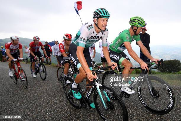 Marcus Burghardt of Germany and Team BoraHansgrohe / Peter Sagan of Slovakia and Team BoraHansgrohe Green Sprint Jersey / Caleb Ewan of Australia and...