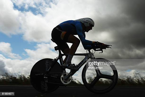 Marcus Burghardt of Germany and Team Colombia rides the stage 4 individual time trial from Cholet to Cholet during the 2008 Tour de France on July 8...