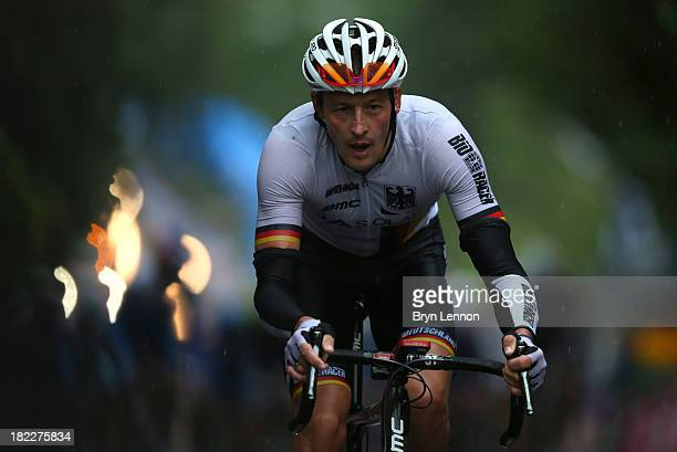 Marcus Burghardt of Germany launches an attack during the Elite Men's Road Race a 272km race from Lucca to Florence on September 29 2013 in Florence...