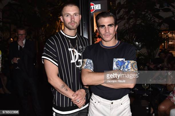 Marcus Butler and Carlo Sestini attend Dolce Gabbana Naked King secret show at Milan Men's Fashion Week Spring/Summer 2019 on June 16 2018 in Milan...