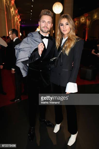 Marcus Butler and Stefanie Giesinger pose at the AlphaTauri photo lounge after the GQ Men of the year Award 2017 at Komische Oper on November 9 2017...