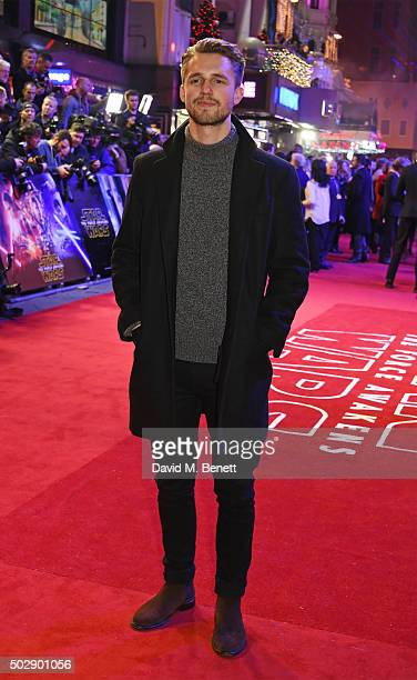 Marcus Butler attends the European Premiere of Star Wars The Force Awakens in Leicester Square on December 16 2015 in London England