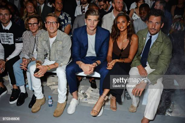 Marcus Butler Dougie Poynter Oliver Proudlock Toby HuntingtonWhiteley and David Gandy attend the Oliver Spencer Catwalk Show SS 2019 during London...