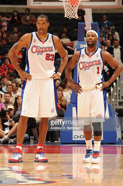 Marcus Camby and Baron Davis of the Los Angeles Clippers pause during a game against the Utah Jazz at Staples Center on November 3 2008 in Los...