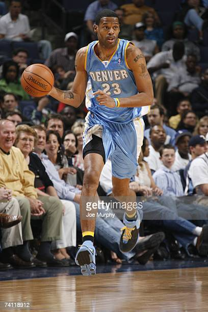 Marcus Camby of the Denver Nuggets moves the ball upcourt during the NBA game against the Memphis Grizzlies on April 14 2007 at FedExForum in Memphis...