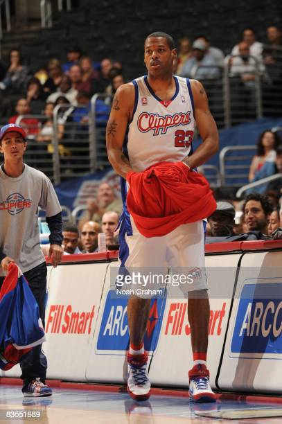 Marcus Camby of the Los Angeles Clippers checks in for his first action of the season during the game against the Utah Jazz at Staples Center on...