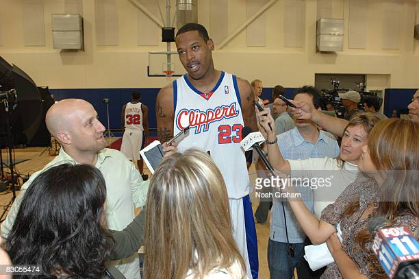 Marcus Camby of the Los Angeles Clippers fields questions from the media during NBA Media Day on September 29 2008 at the Clippers Training Facility...
