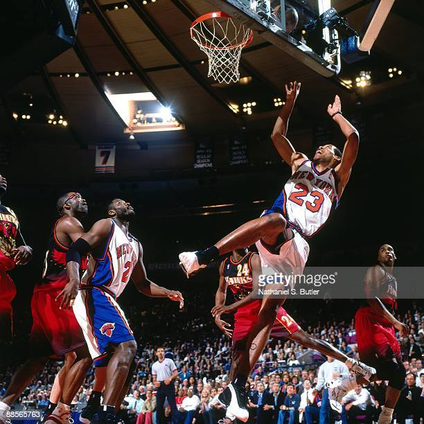Marcus Camby of the New York Knicks shoots against the Atlanta Hawks in Game Four of the Eastern Conference Semifinals during the 1999 NBA Playoffs...