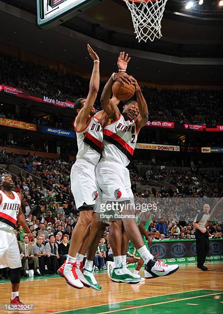 Marcus Camby of the Portland Trail Blazers rebounds against the Boston Celtics on March 9 2012 at the TD Garden in Boston Massachusetts NOTE TO USER...