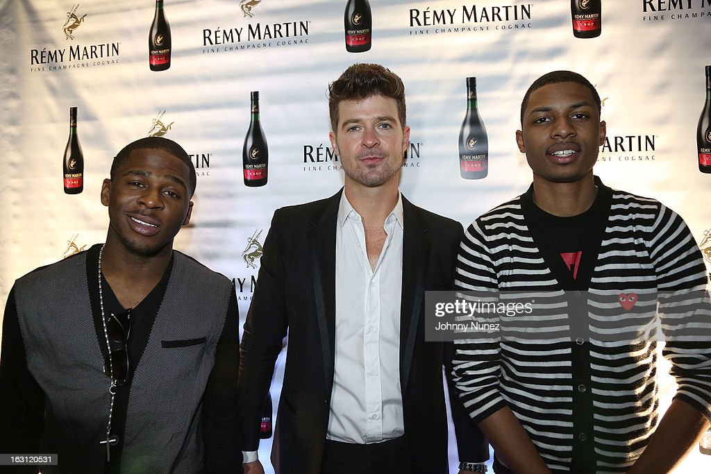 Marcus Canty, Robin Thicke and Deon Young attend the Remy Martin V.S.O.P Ringleader Culmination Event with Robin Thicke at Marquee on March 4, 2013 in New York City.