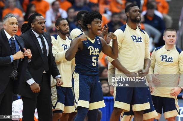 Marcus Carr of the Pittsburgh Panthers reacts to a play from the sidelines against the Syracuse Orange during the second half at the Carrier Dome on...