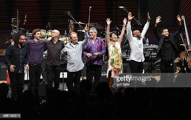 Marcus Cesar Wesley Ritenour John Beasley Lee Ritenour Ivan Lins Hiroko Kokubu Nathan East and Noah East during Kawasaki Jazz on November 21 2015 in...