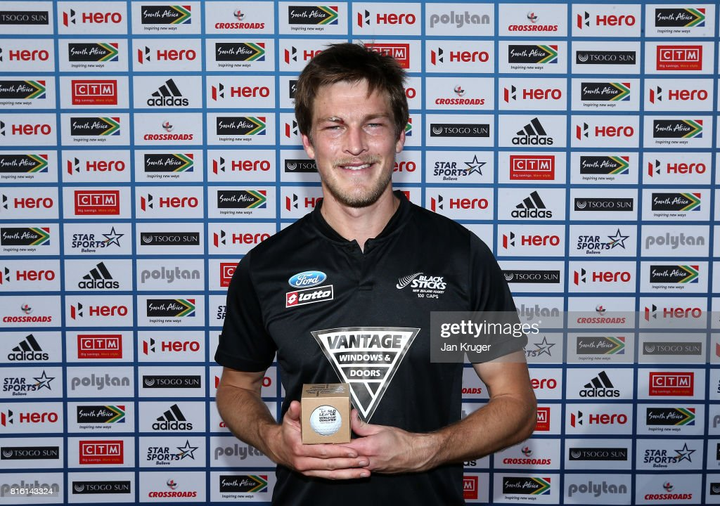 Marcus Child of New Zealand poses with his milestone award commemorating 100 caps during day 5 of the FIH Hockey World League Men's Semi Finals Pool A match between Spain and New Zealand at Wits University on July 17, 2017 in Johannesburg, South Africa.