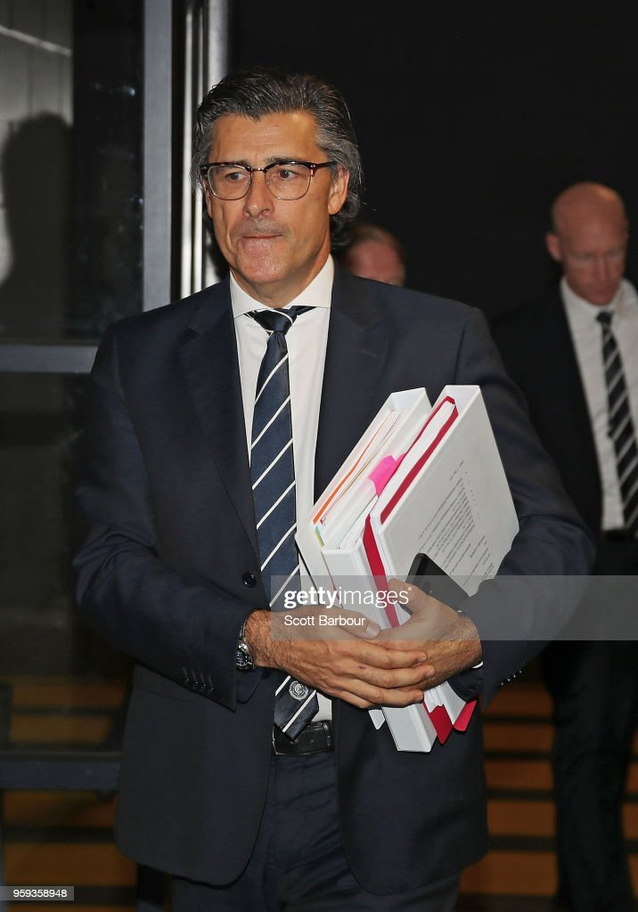 QC Marcus Clarke, Solicitor for the Carlton Football Club and Andrew McKay, General Manager Football Operations at the Carlton Football Club arrive ahead of the AFL Tribunal Appeal Hearing into intentional contact with an umpire by Charlie Curnow and his brother Ed Curnow of the Carlton Blues at AFL House on May 17, 2018 in Melbourne, Australia.