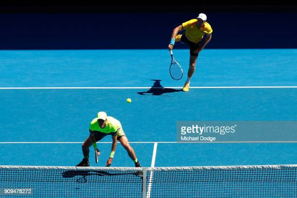 Marcus Daniell of New Zealand and Dominic Inglot of Great Britain compete in their men's doubles quarterfinal match against Oliver Marach of Austria...