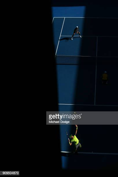 Marcus Daniell of New Zealand and Dominic Inglot of Great Britain compete in their men's doubles quarter-final match against Oliver Marach of Austria...