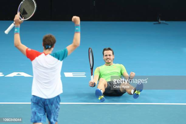 Marcus Daniell of New Zealand and Wesley Koolhof of the Netherlands celebrate winning the Men's Doubles Final match against Joe Salisbury of Great...