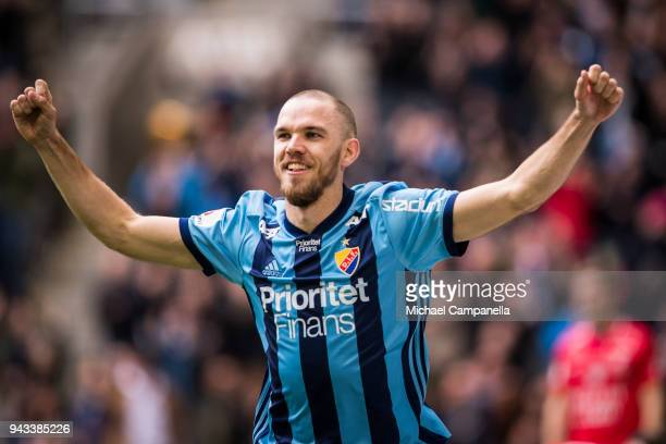 Marcus Danielson of Djurgardens IF celebrates scoring the opening 10 goal during an Allsvenskan match between Djurgardens IF and Trelleborgs FF at...