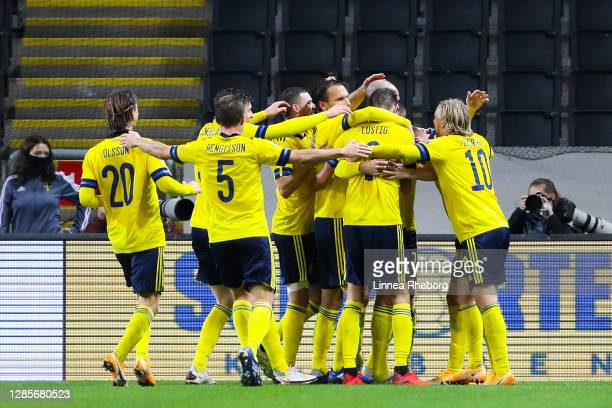 Marcus Danielson of Sweden celebrates with his team mates after scoring his team's second goal during the UEFA Nations League group stage match...