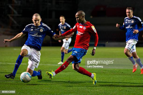 Marcus Danielsson of GIF Sundsvall and Bradley Ralani of Helsingborgs IF during the Allsvenskan match between Helsingborgs IF and GIF Sundsvall at...