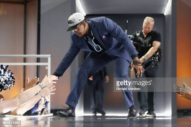 Marcus Davenport of UTSA greets fans after he was picked overall by the New Orleans Saints during the first round of the 2018 NFL Draft at ATT...