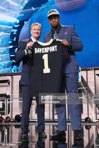 Marcus Davenport of UTSA poses with NFL Commissioner Roger Goodell after being picked overall by the New Orleans Saints during the first round of the...