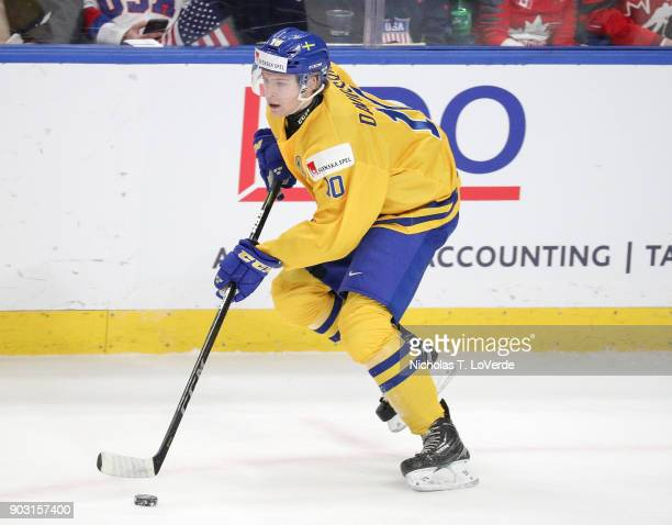 Marcus Davidsson of Sweden skates against the United States during the first period of play in the IIHF World Junior Championships Semifinal game at...