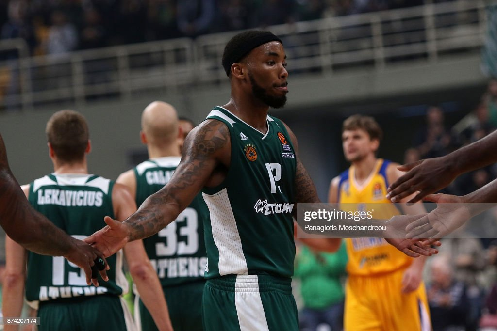 Marcus Denmon, #12 of Panathinaikos Superfoods Athens react during the 2017/2018 Turkish Airlines EuroLeague Regular Season Round 7 game between Panathinaikos Superfoods Athens and Khimki Moscow Region at Olympic Sports Center Athens on November 14, 2017 in Athens, Greece.
