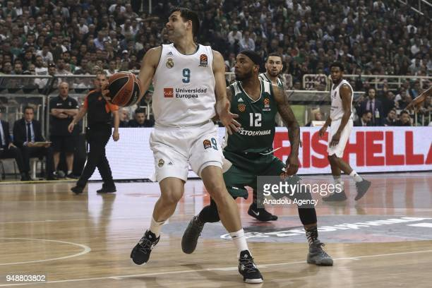 Marcus Denmon of Panathinaikos Superfoods in action against Felipe Reyes of Real Madrid during Turkihs Airlines Euroleague Quarter Finals second...
