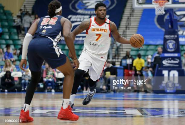 Marcus Derrickson of the College Park Skyhawks brings the ball up court during the second quarter against Chad Brown of the Texas Legends on January...