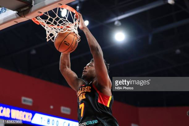 Marcus Derrickson of the College Park Skyhawks dunks the ball during the fourth quarter of an NBA GLeague game against the Delaware Blue Coats on...