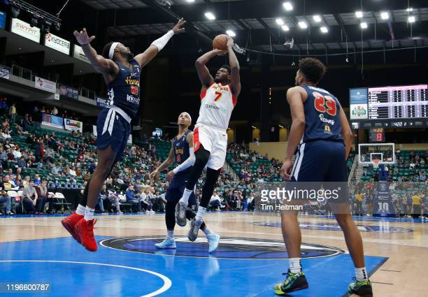 Marcus Derrickson of the College Park Skyhawks shoots against Chad Brown of the Texas Legends during the second quarter on January 26 2020 at...
