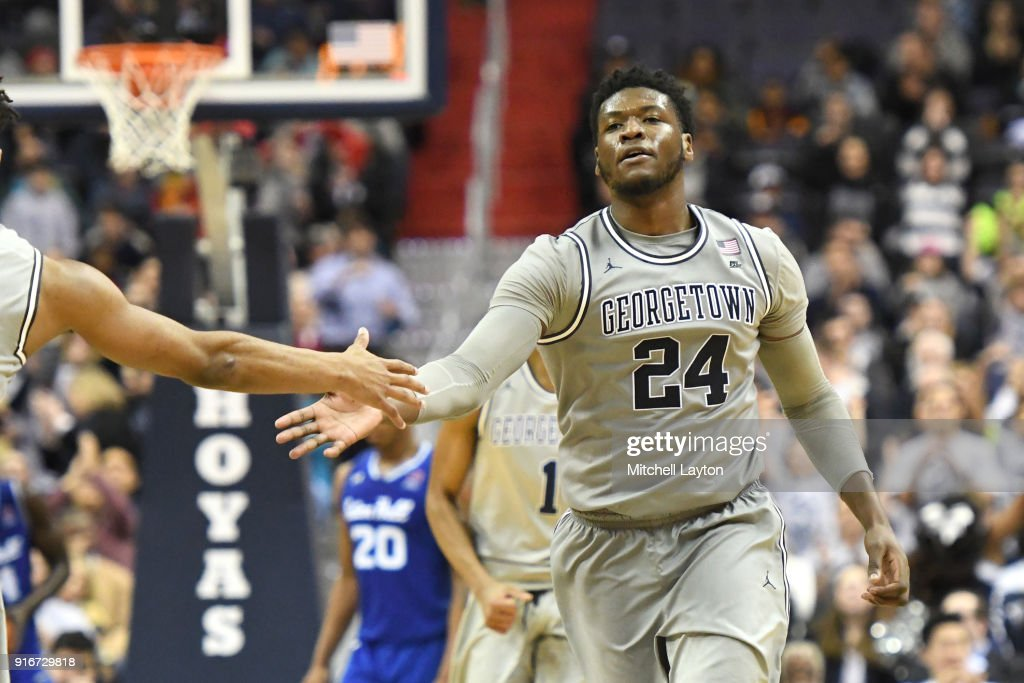 Marcus Derrickson #24 of the Georgetown Hoyas celebrates a shot during a college basketball game against the Seton Hall Pirates at Capital One Arena on February 10, 2018 in Washington, DC.
