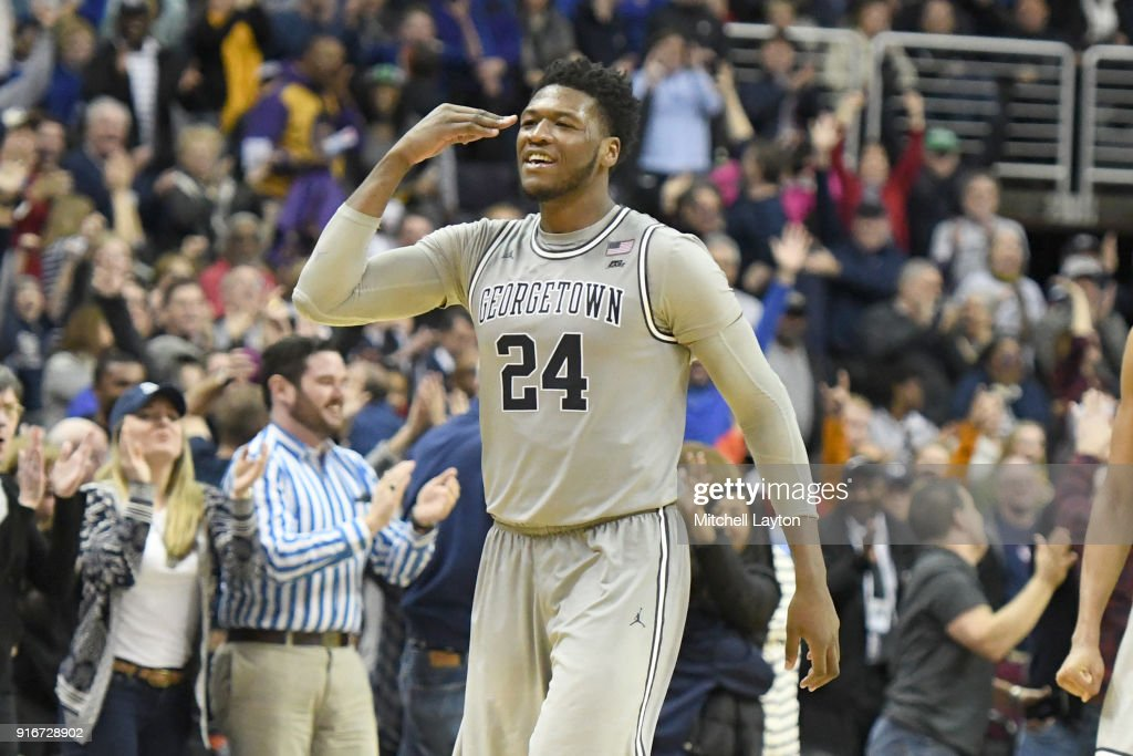 Marcus Derrickson #24 of the Georgetown Hoyas celebrates game winning three point shot during a college basketball game against the Seton Hall Pirates at Capital One Arena on February 10, 2018 in Washington, DC.