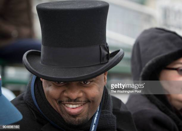 Marcus E Huffman a 'proud Democrat' from Roanoke wears a top hat to the Inauguration ceremony Saturday January 13 2018 in Richmond Va