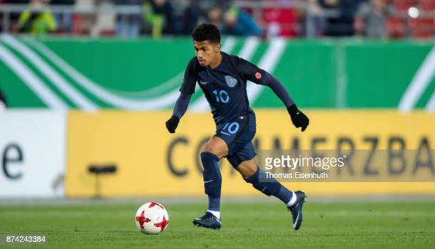 Marcus Edwards of England plays the ball during the Under 20 International Friendly match between U20 of Germany and U20 of England at Stadion...