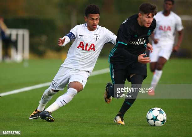 LR Marcus Edwards of Tottenham Hotspur and Garcia Torres Francisco Jose of Real Madrid Under 19s during UEFA Youth Cup match between Tottenham...