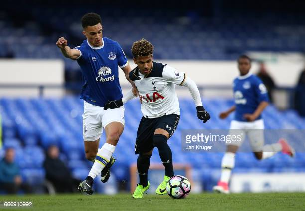 Marcus Edwards of Tottenham Hotspur battles with Antonee Robinson of Everton during the Premier League 2 match between Everton and Tottenham Hotspur...
