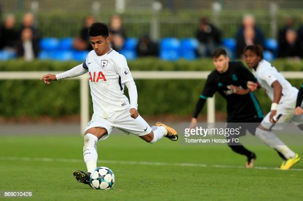 Marcus Edwards of Tottenham Hotspur scores a penalty during the UEFA Youth League group H match between Tottenham Hotspur and Real Madrid at the...