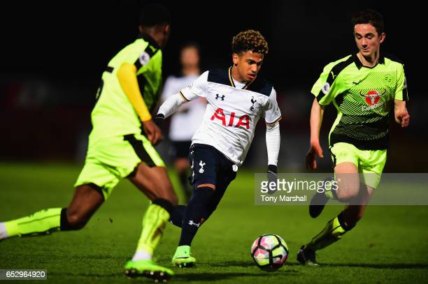 Marcus Edwards of Tottenham Hotspur weaves his way through the Reading defence during the Premier League 2 match between Tottenham Hotspur and...