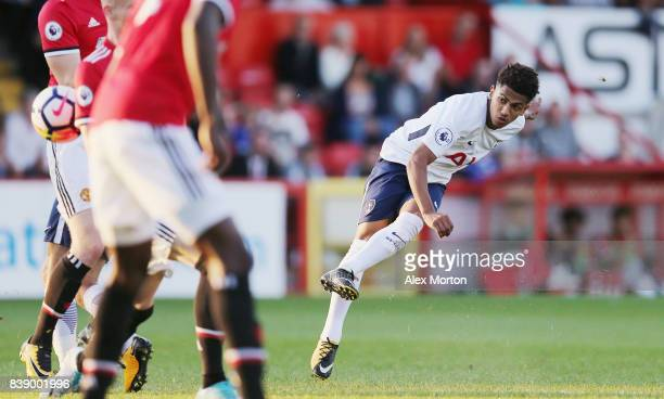 Marcus Edwards of Tottenham scores their first goal during the Premier League 2 match between Tottenham Hotspur and Manchester United at The Lamex...
