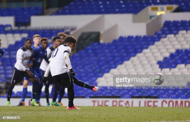 Marcus Edwards of Tottenham scores their first goal from the penalty spot during the Premier League 2 match between Tottenham Hotspur and Leicester...