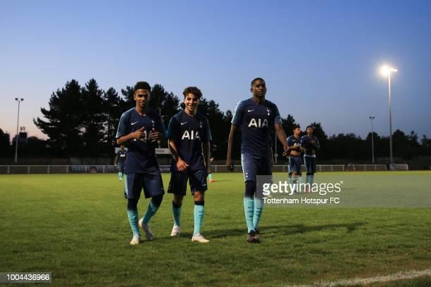 Marcus Edwards Samuel Shashoua and Jonathan Dinzeyi of Tottenham Hotspur during the PreSeason Friendly match between Enfield Town and Tottenham...