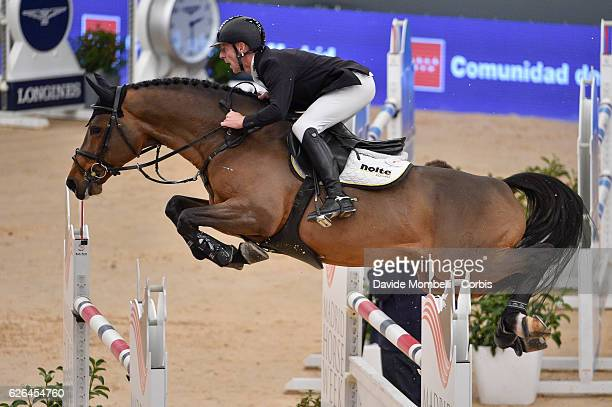 Marcus Ehning of Germany rides Comme il Faut winner CSI5* W Grand Prix World Cup competition with one jumpoff in the Longines FEI Trofeo Mutua...