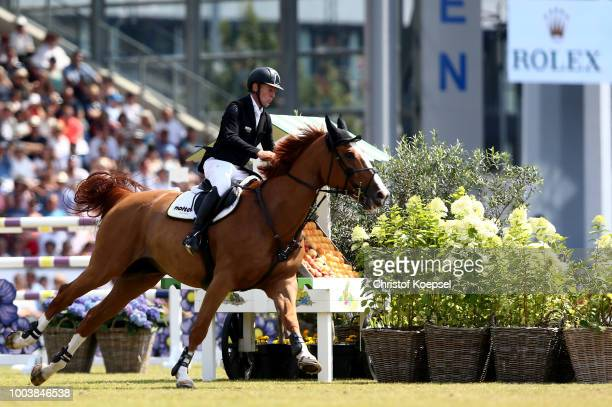 Marcus Ehning of Germany rides on Pret a Tout and won the Rolex Grand Prix of CHIO Aachen 2018 at Aachener Soers on July 22 2018 in Aachen Germany