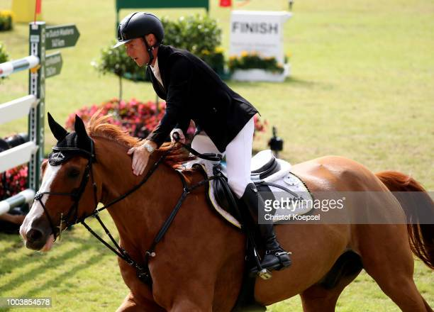 Marcus Ehning of Germany rides on Pret a Tout celebrates his good ride during the Rolex Grand Prix of CHIO Aachen 2018 at Aachener Soers on July 22...